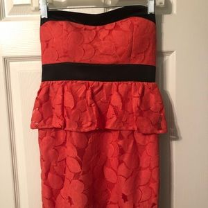 Women's Coral Lace Cocktail Dress Small